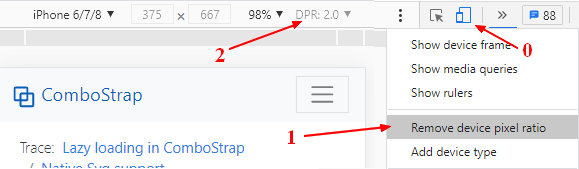 How to change the device pixel ratio in chrome devtool